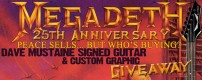 """To commemorate the 25th anniversary release of Peace Sells.. But Who's Buying? reissue we are giving away a Dean """"Peace Sells..."""" VMNTX electric guitar signed by Dave Mustaine."""