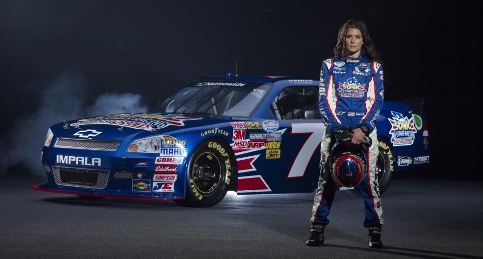 Nascar racer Danica Patrick and her Sega sponsored car.
