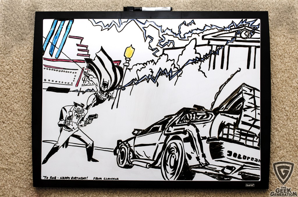 Batman DeLorean birthday whiteboard